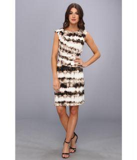 Calvin Klein Print Side Ruched Dress Womens Dress (Black)