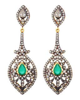 Raj Marquise Drop Earrings, Green