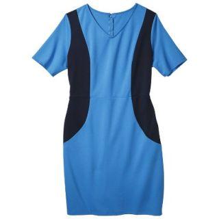 Merona Womens Plus Size V Neck Colorblock Ponte Dress   Blue/Navy 4