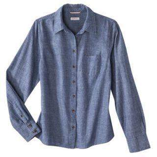 Merona Petites Long Sleeve Chambray Shirt   Blue XXLP
