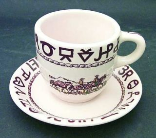 True West Westward Ho Flat Cup & Saucer Set, Fine China Dinnerware   Beige Backg