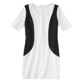 Merona Petites V Neck Colorblock Ponte Dress   Cream/Black SP