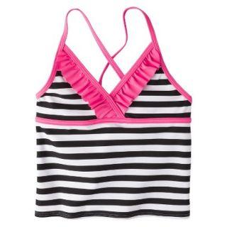 Girls Striped Halter Tankini Swim Top   Black/White S