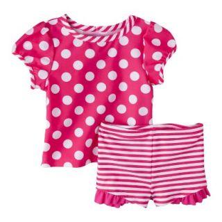 Circo Infant Toddler Girls 2 Piece Polka Dot Short Sleeve Rashguard and Bikini
