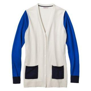Merona Womens Colorblock Longsleeve Cardigan  White Sand XS