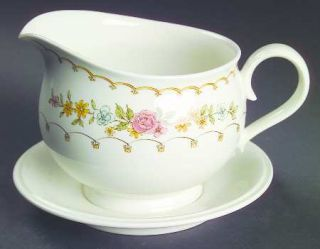 Noritake Verse Gravy Boat with Attached Underplate, Fine China Dinnerware   Vers