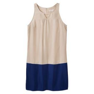 Merona Womens Colorblock Hem Shift Dress   Hamptons Beige/Waterloo Blue   XS