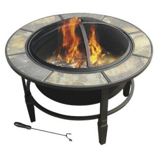 leisurelife 33 Terni, Round Slate Top Fire Pit