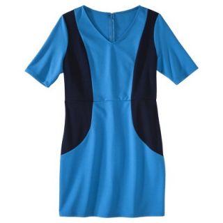 Merona Petites V Neck Colorblock Ponte Dress   Blue/Navy LP