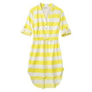 Merona Womens Drawstring Shirt Dress   Striped   L