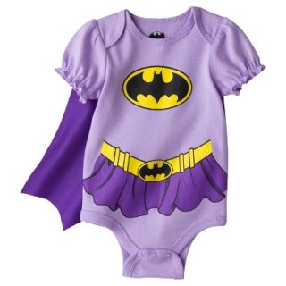 Batman Newborn Girls Batgirl Caped Bodysuit   Purple 6 9 M