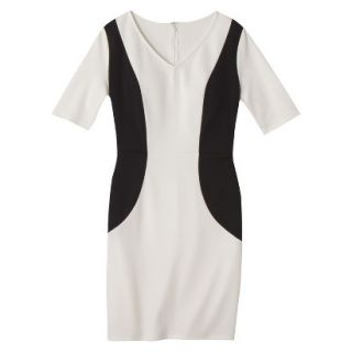 Merona Womens Ponte V Neck Color Block Dress   Sour Cream/Black   M