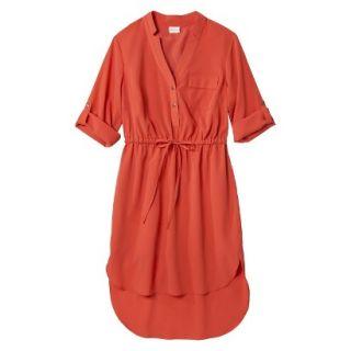 Merona Womens Drawstring Shirt Dress   Orange   XL
