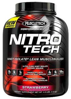 Muscletech Products   Nitro Tech Performance Series Whey Isolate Strawberry   4 lbs.