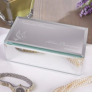 Personalized Mirrored Jewelry Box   In Loving Memory   Small