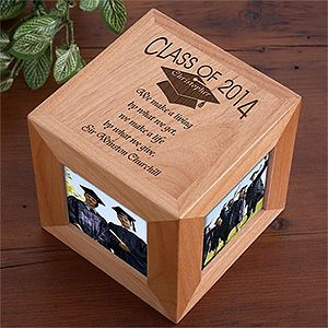 Engraved Graduation Photo Cube Frame