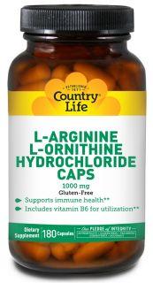 Country Life   L Arginine L Ornithine Caps Amino Acid Complex with Vitamin B 6 1000 mg.   180 Capsules