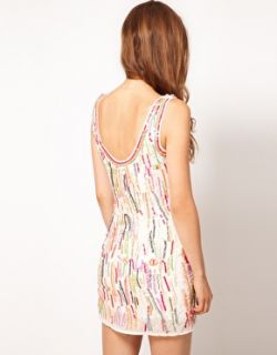 Warehouse  Vestido de corte recto con lentejuelas de colores de Warehouse en