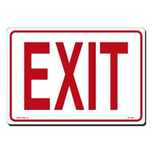 Lynch Sign 10 in. x 7 in. Red on White Plastic Exit Sign ES   1SM