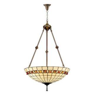 Dale Tiffany Geometric Jewel 3 Light Antique Brass Inverted Pendant with Art Glass Shade 7190/3LTJ