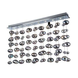 PLC Lighting 8 Light Polished Chrome Pendant with Linear Light and Iridescent Glass Shade CLI HD96958PC