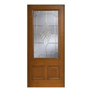 Main Door Mahogany Type Prefinished Cherry Beveled Brass 3/4 Glass Solid Wood Entry Door Slab SH 556 CH B