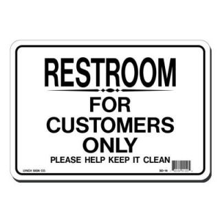 Lynch Sign 10 in. x 7 in. Blue on White Plastic Restroom for Customers Only Sign SD  14