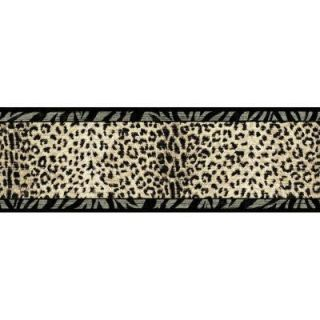 The Wallpaper Company 6.75 in. x 15 ft. Black and Beige Animal Print Border WC1283255