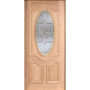 Main Door Mahogany Type Unfinished Beveled Brass 3/4 Oval Glass Solid Wood Entry Door Slab SH 557 UNF B
