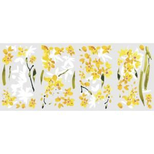 RoomMates 5 in. x 11.5 in. Yellow Flower Arrangement Peel and Stick Wall Decals RMK2494SCS