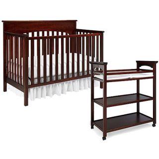Graco Lauren Crib And Changing Table, Walnut With Bonus Mattress Nursery  Furniture
