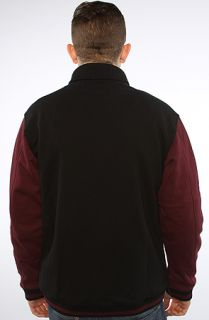 Diamond Supply Co. Jacket Varsity Jacket Black & Burgundy