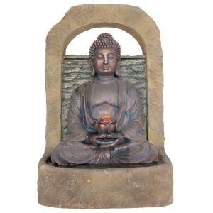 Kelkay 19 in. W x 17 in. D x 27 in. H Buddha with Lotus Flower Fountain with LED Lights DISCONTINUED F4710L