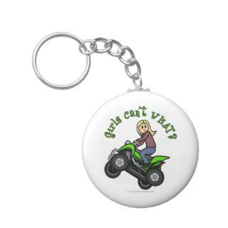 Blonde Woman ATV  Four Wheeler Driver Keychains