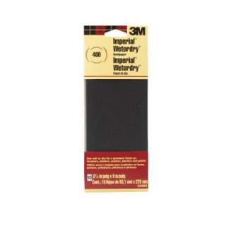 3M 3 2/3 in. x 9 in. Imperial Wetordry 400 Grit Silicon Carbide Sandpaper (10 Pack) 5920 18 CC