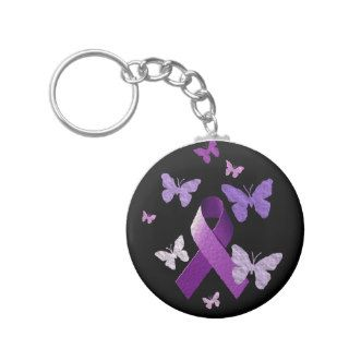 Purple Awareness Ribbon Key Chain