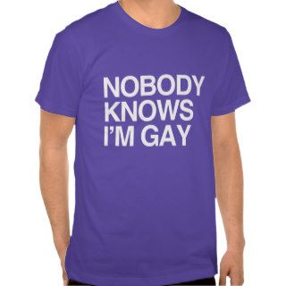 NOBODY KNOWS I'M GAY   WHITE  .png Tee Shirt