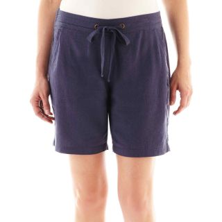 St. Johns Bay Linen Bermuda Shorts   Petite, Indigo, Womens