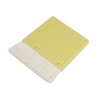 """4.3"""" Wide Light Yellow Plastic Handle Grip White Faux Wool Painting Paintbrush"""