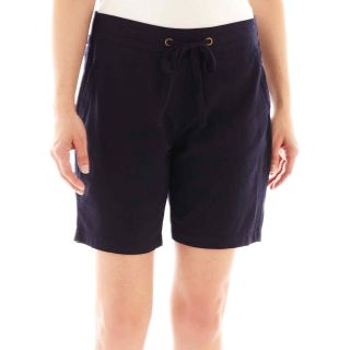 St. Johns Bay Linen Bermuda Shorts   Petite, Navy, Womens