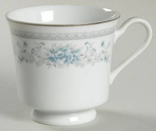 Salem Bridal Bouquet Footed Cup, Fine China Dinnerware   Blue/Gray Floral, Plati