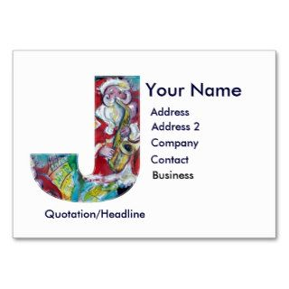 CHRISTMAS J LETTER / SANTA CLAUS WITH SAX BUSINESS CARD TEMPLATES