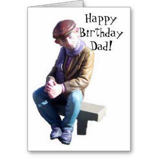 Happy Birthday Dad Card Old Man On A Bench
