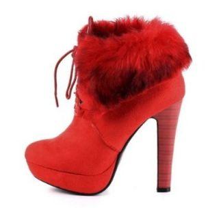 Damen Schuhe, STIEFELETTEN, PLATEAU HIGH HEELS KUNST FELL, HP116, Synthetik in hochwertiger Wild Leder Optik, Rot, Gr 40 Schuhe & Handtaschen