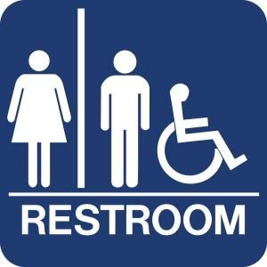 Lynch Sign 8 in. x 8 in. Blue Plastic with Braille Restroom   Accessible Sign UNI 19