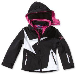 Killtec Kinder Soft Shell Jacke Mit Abzipbarer Kapuze Paolina, schwarz / weiß / pink / azur, 128, 19861 000 Sport & Freizeit
