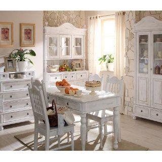 Massivholz Tisch im Landhaus Stil   inkl. Schubladen 80x180x90   Antik weiß vanillefarben: Küche & Haushalt