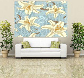 WM184   Blue floral Lilie Muster Tapete Wandbild. Selbstklebender Tapete. Peel und Stick Wandbild Fototapete Art Fever TM UK Küche & Haushalt