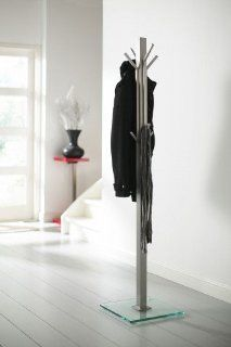 Design Garderobe Standgarderobe H: 185 cm mit Glas Standfuß Garderobenständer aus Edelstahl: Küche & Haushalt
