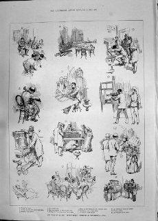 Antike Inventar Stimmungs Musikalischer Jury Banjo Klavier Kontrabass des Druck 1885: Küche & Haushalt